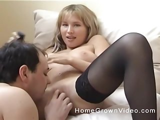 Seductive blonde in stockings has her pussy licked by her steady old-fashioned