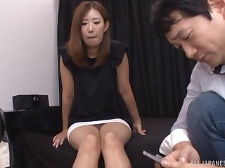 Japanese babe gets a hardcore ID card and sucks dick
