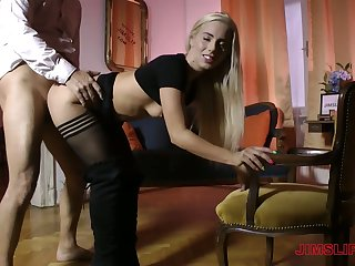 Blond head hither appetizing aggravation Nesty is sweltering about riding strong cock