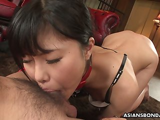 Submissive slender Jap gal Mika Shindo gets undressed and mouthfucked