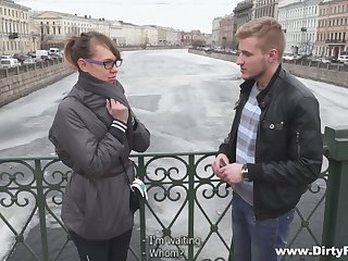 Dude picks up nerdy chick Aubrey and fucks will not hear of naughty wet pussy