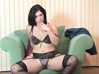 Glamorous MILF brunette Montse Swinger masturbates after striping