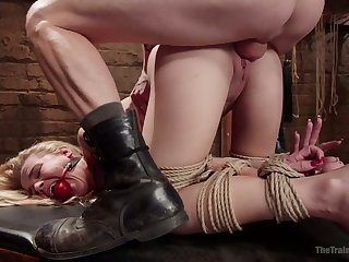 Gagged chesty cowgirl with down in the mouth booty Alina West gets holes fucked
