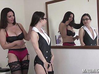 Mindi Mink and Serena Blair transform lingerie during their lesbian session
