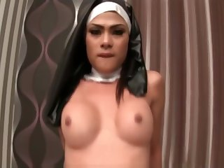 Blue Tranny Anita Nun Bareback Fucking