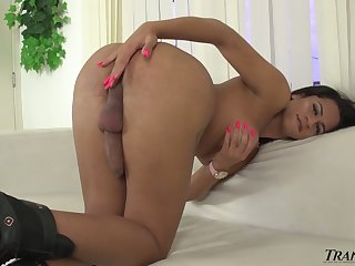 Heavy breasted distress legged ladyboy Melissa Azuaga wanks her own strong blarney