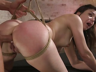Tied up slutty nympho wide sexy ass Juliette March deserves some anal