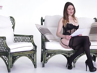 Pale but still rather hot nympho Samantha Bentley poses in black stuff
