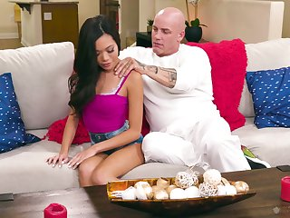 Lewd Asian babe Vina Sky is fucked and fully satisfied by bald headed suitor