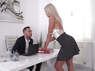 Gorgeous blonde Angelika Grays gets mimic penetrated by yoke studs