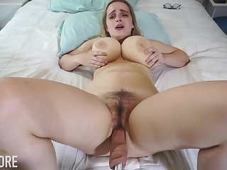 Huge-Boobed platinum-blonde girl, Codi Vore is opening up her gams broad open in the long run b for a long time utilizing a instrument a fuckin' machine