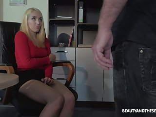 Blonde nympho is caught during masturbation and fucked by horny grey boss