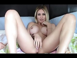 Giant Boobs Blonde Toying The brush Pussy