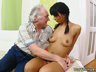 Old man's dream be fitting of fucking a cute shy babe finally comes verified