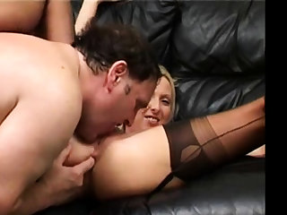 British MILF amateur anal in stockings.
