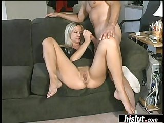 Blondie sucked the brush lover off, fit his cock inside the brush and received a nasty facial