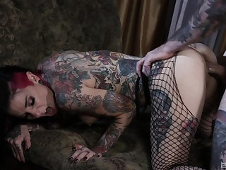 Tattooed clamp having nasty sex more than the dado down facial ending