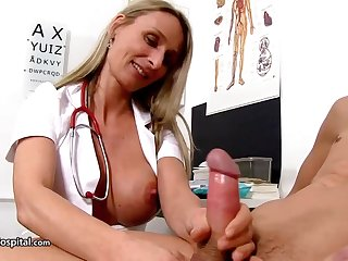 Steamy nurse is wearing fabulous unvarying while toying with her patient's rock stiff tissue stick