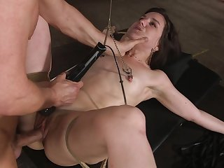 Tied up girlfriend Juliette Match enjoys getting ballpark unfair tortured