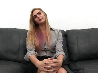 Interracial threesome sex on the fake couch with blonde Riley