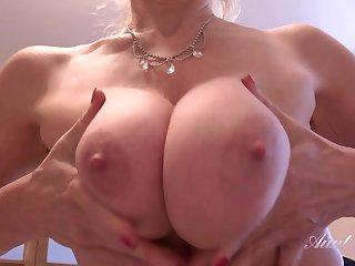 Milf Lucinda - busty mature with massive juggs masturbating on table apex