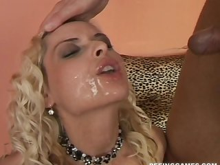 Blonde slut Alena in underclothes fucked off out of one's mind a horny client and rations cum