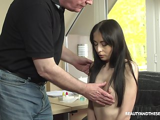 Young patient with puffy nipples Roxy Sky is craving for sex with old doctor