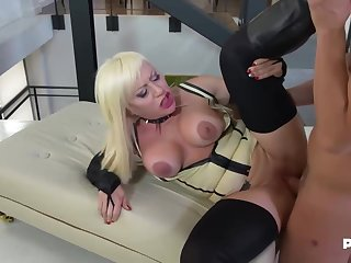Christie Dom is wearing cleaning man around high heels added to corset while cheating on her husband