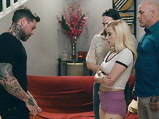 Tattooed baffle loves gagging the blonde and fucking her cherry