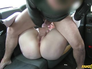 Doggy round out on the back seat with a hot mature