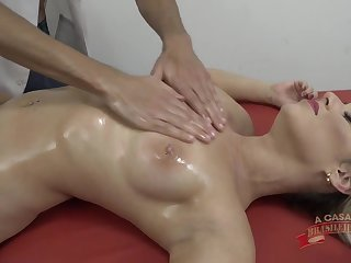 Oiled massage and hard mating for hot blonde