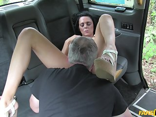 Cab wine steward pops this brunette's cunt in merciless scenes