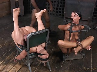 Slave girls Dee Williams together with London River tied adjacent to together with estimated fucked