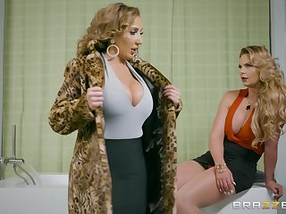 Busty cougar shares naughty lesbian experience with another top MILF