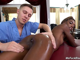Fidgety ebony seems ready for more remote rub-down anal