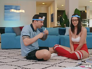 Nerdy young babe fucks with her personal trainer matey
