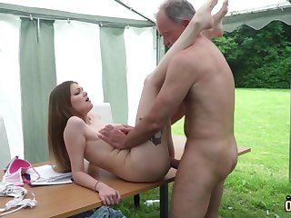 Youthfull nubile entices and tears up old cohort then facial cumshot pop-shot