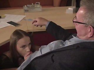 Amazing tenebrous with glasses is having a ffm threesome at work added to enjoying it a lot
