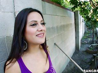 Interracial fucking with cock vitalized Latina amateur Selma Sins