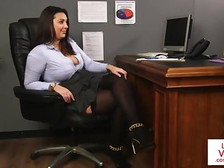 Office honey teaches slave gender partner to masturbate