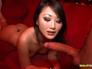 Aliment chinese damsel in knee highs takes wood from the back in bring out
