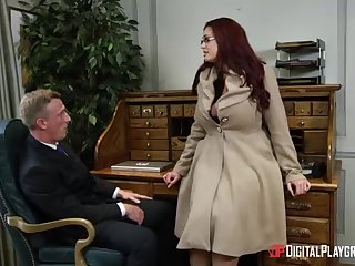 Alessandra Jane with an increment of Emma are having a 3some in their office, instead of doing their job